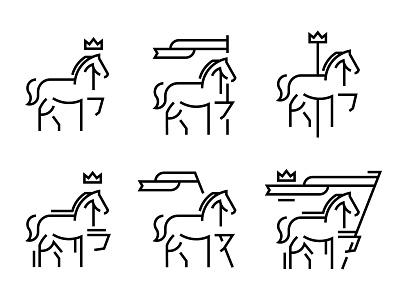 Horse animal carousel branding fun illustration line work line art icon flag crown pony horse