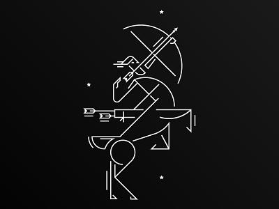 Sagittarius illustration icon fun archer warrior centaur arrow line drawing stars astrology mythological mythology myth line work sagittarius