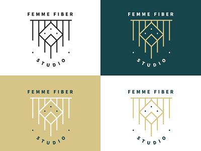Femme Fiber Logo icon design illustration branding line work logo macramé studio fiber