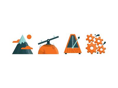 Editorial Illo editorial magazine illustration mountain metronome seesaw gears orange blue