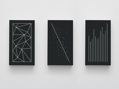 Data Abstraction business cards data infographics black white lines line dots graph chart