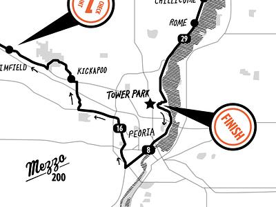 Mezzo 200 Map Sketch illinois hand infographic car race 200 mezzo map