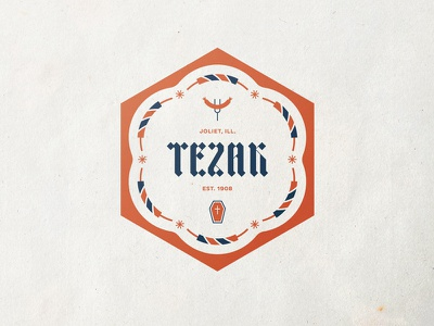 Tezak Badge hexagon fork sausage coffin casket fireworks badge crest family