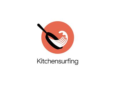 Kitchensurfing Logo start-up mark logo wave skillet pan frying kitchen