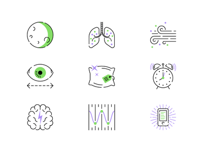 AARP Sleep pillow brain moon eye sleep icons illustration editorial