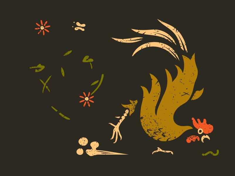 Rooster icon garden flowers texture chicken illustration