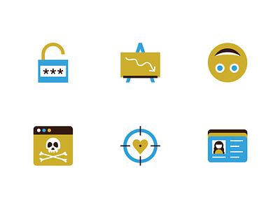 AARP Fraud Icons crosshairs id heart lock smiley skull icons