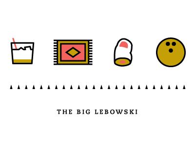 Lebowski icon icons logos line illustration bowling rug toe white russian