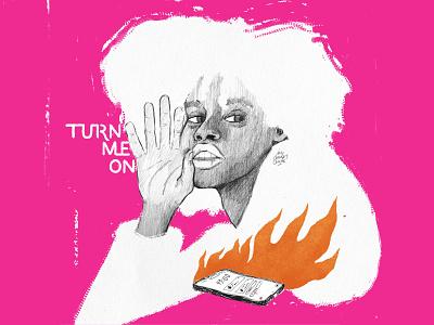 Turn me on 🔥 instagram mobile encender on turn lettering art lettering fireart woman manual illustration psd design woman illustration texture illustration design