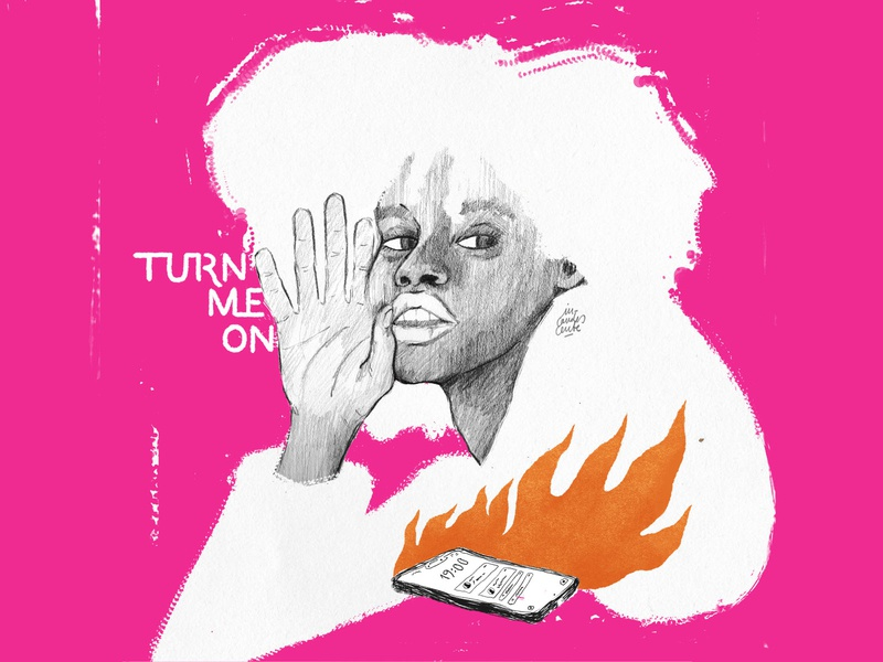 Turn me on 🔥 instagram mobile encender on turn lettering art lettering fireart woman manual illustration psd design woman illustration texture illustration design