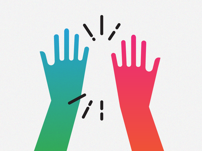 ✋💥✋ hand yay celebration high five hands vector illustration