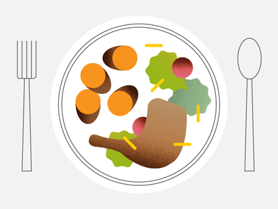 🍴 vector sweet potatoes salad turkey spoon fork plate thanksgiving food illustration