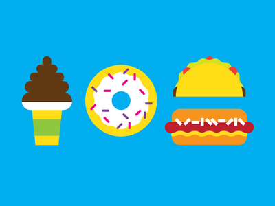 everyday is my cheat day hotdog taco donut ice cream vector illustration food
