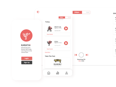 KARATAI Web App app design ui ux karate exercising app minimal ui red ui wep app website app ui
