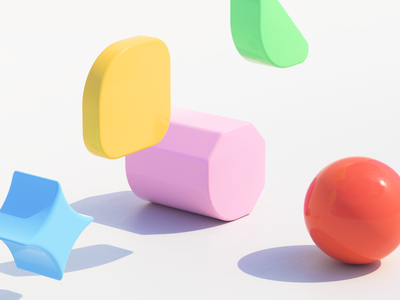 Playful playful 3d art concept color shape design brand identity c4d 3d