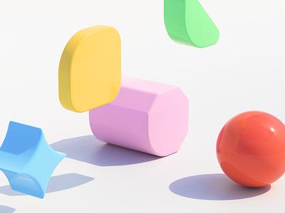 Playful playful 3d art concept color shape design brand identity c4d 3d