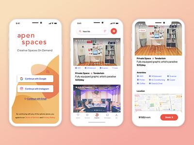 Open Spaces UI ux design app ui