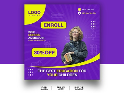 Social Media Banner, Template, Poster. promotion advertise kids school daily poster background event branding 3d 2d brand design adobe xd advertising adobe illustrator adobe photoshop social media banner banner