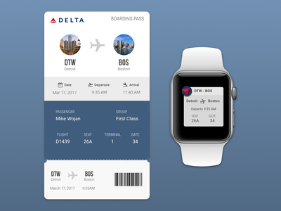 Daily UI: Boarding Pass design apple watch mobile daily ui dailyui