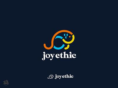 Joy custom design mark logo typography fish joy