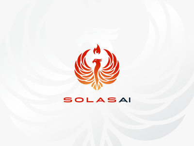 SOLAS AI, Logo security cyber brand identity illustration ai firebird gradient animal phoenix fire bird logo branding