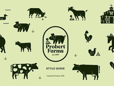 Probert Farms Branding graphic design ui style guide illustration simple cow barn flower horse duck egg pig green 2 color geometric animals logo farm branding