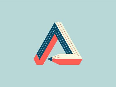 Logo Concept pencil 3d dimensions logo