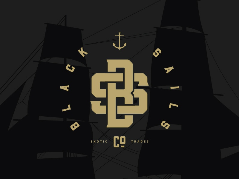 Black Sails Co. circle black gold anchor barley ship logo monogram