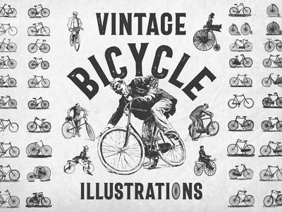 Vintage Bicycle Illustrations Download vectors fixie cruiser illustrations logos bikes hipster bicycle