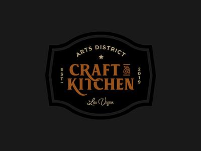 Arts District Craft & Kitchen Logo badge beer gastro simple black ampersand sans serif script typography pub restaurant brand hipster hip type established arts sign logo