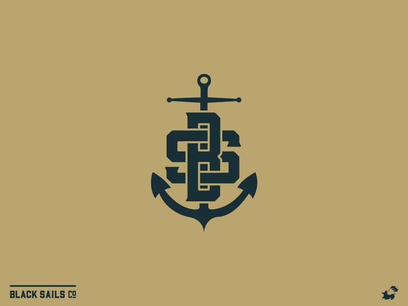 Black Sails Brand Monogram Logo connected interlaced shore ocean clean damn good flat apparel shirt brand branding typography logo lockup mockup sea anchor logo nautical monogram