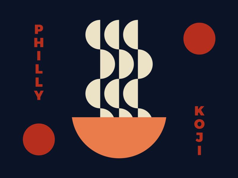Philly Koji Co. Color Exploration logos circle minimal simple bowl soup geometric miso noodles japan japanese koji philly branding