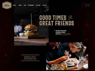Arts District Craft & Kitchen Website Mockup eat pub food bar branding restaurant web design website concept header mockup website