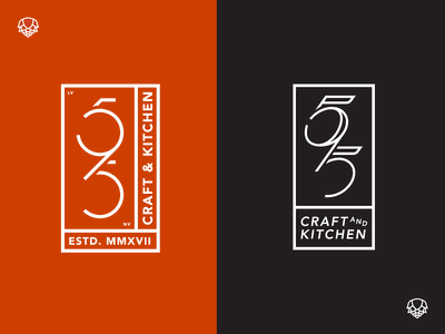595 Craft & Kitchen Monogram Logos minimal simple eat food gastro pub brew craft restaurant numbers monogram design monogram monogram logo