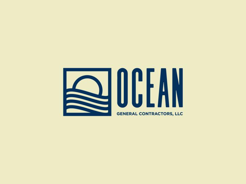 Ocean Minimalist Mono Weight Logo monoline clean beach sand construction contractor minimalist design minimalist logo ocean waves sun simple logo