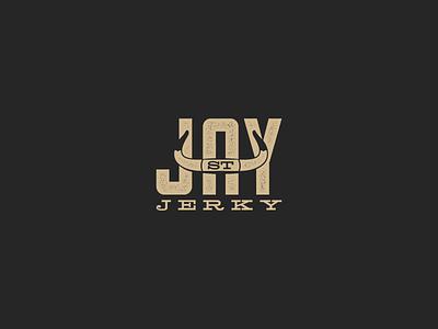 Jay St. Jerky Logo food branding and identity branding design hipster negative space nyc longhorn cattle horns logo branding beef jerky