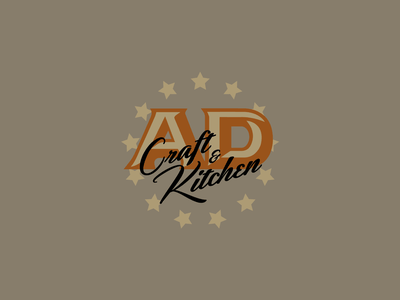 Arts District Craft & Kitchen Circle Lockup identity brand design logo design branding natural muted local star simple food gastro pub brewery restaurant craft logo