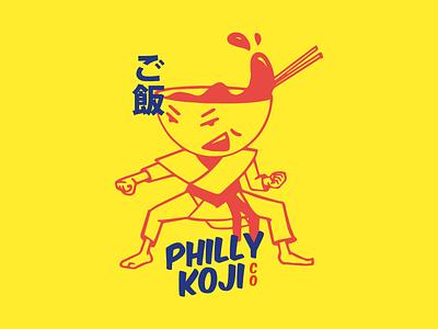Philly Koji Character Design philadelphia philly branding design branding asian japanese chopsticks soup miso design character design logo jiujitsu