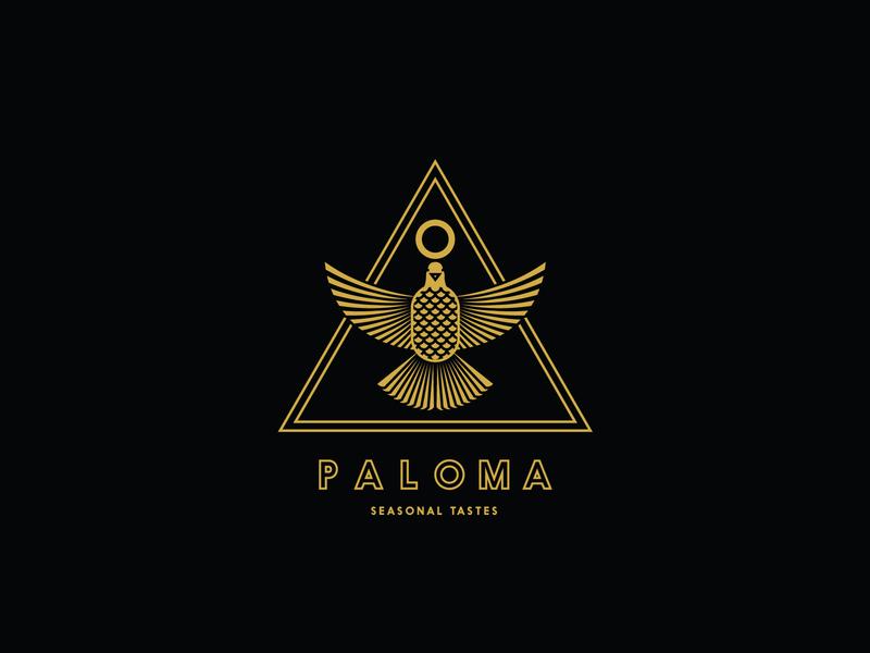 Paloma Restaurant Logo Concept gold egyptian restaurant food triangle mono line bird dove visual identity branding logo