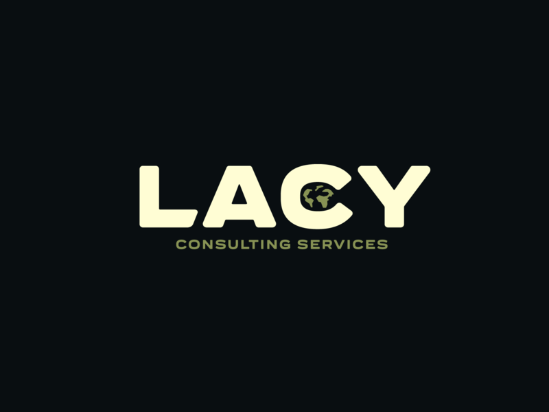 Lacy Logo clean professional clever simple consultant visual identity logo earth world negative space