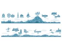 Portuguese land marks illustration editorial design designer design