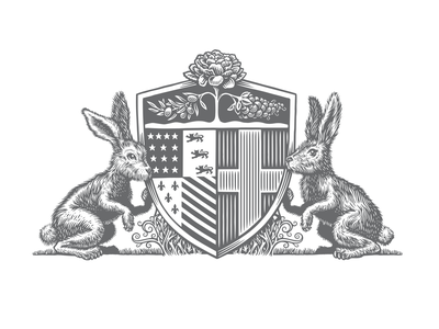 Silver Rabbit greece detroit olive branch grapes shield coatofarms bunnies rabbits design logo scratchboard bw illustration