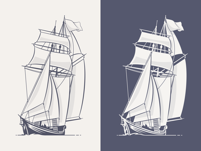 Ships nautical ship branding design logo bw illustration