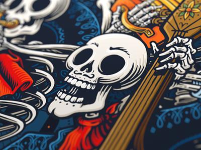 Dia De Los Muertos modelo branding dia de los muertos skull poster scratchboard illustration