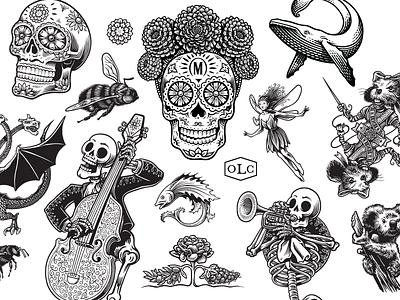 2020 branding mural skull scratchboard bw illustration