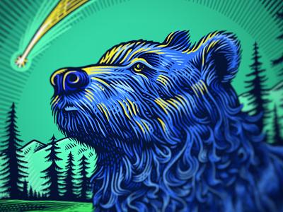 Heroic beasts (2) bear scratchboard illustration
