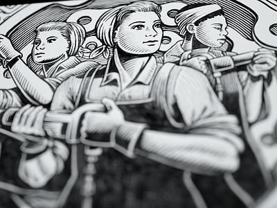 Work Smart - WIP mural heroic wpa bw illustration