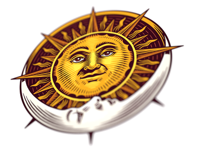 The sun and the moon moon sun astrology logo illustration