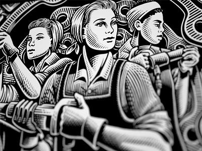 Strong Women bw illustration work smart hard work women heroic