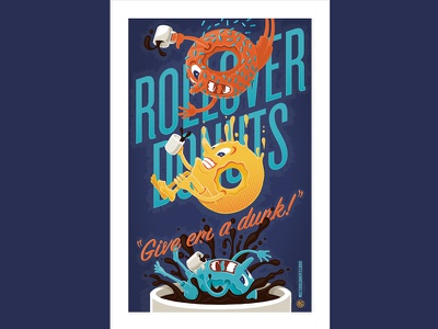 Rollover Donuts retro donuts illustration poster